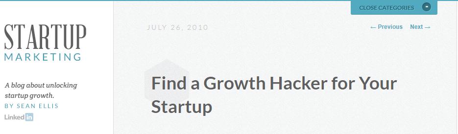 Growth hacking blog post by Sean Ellis