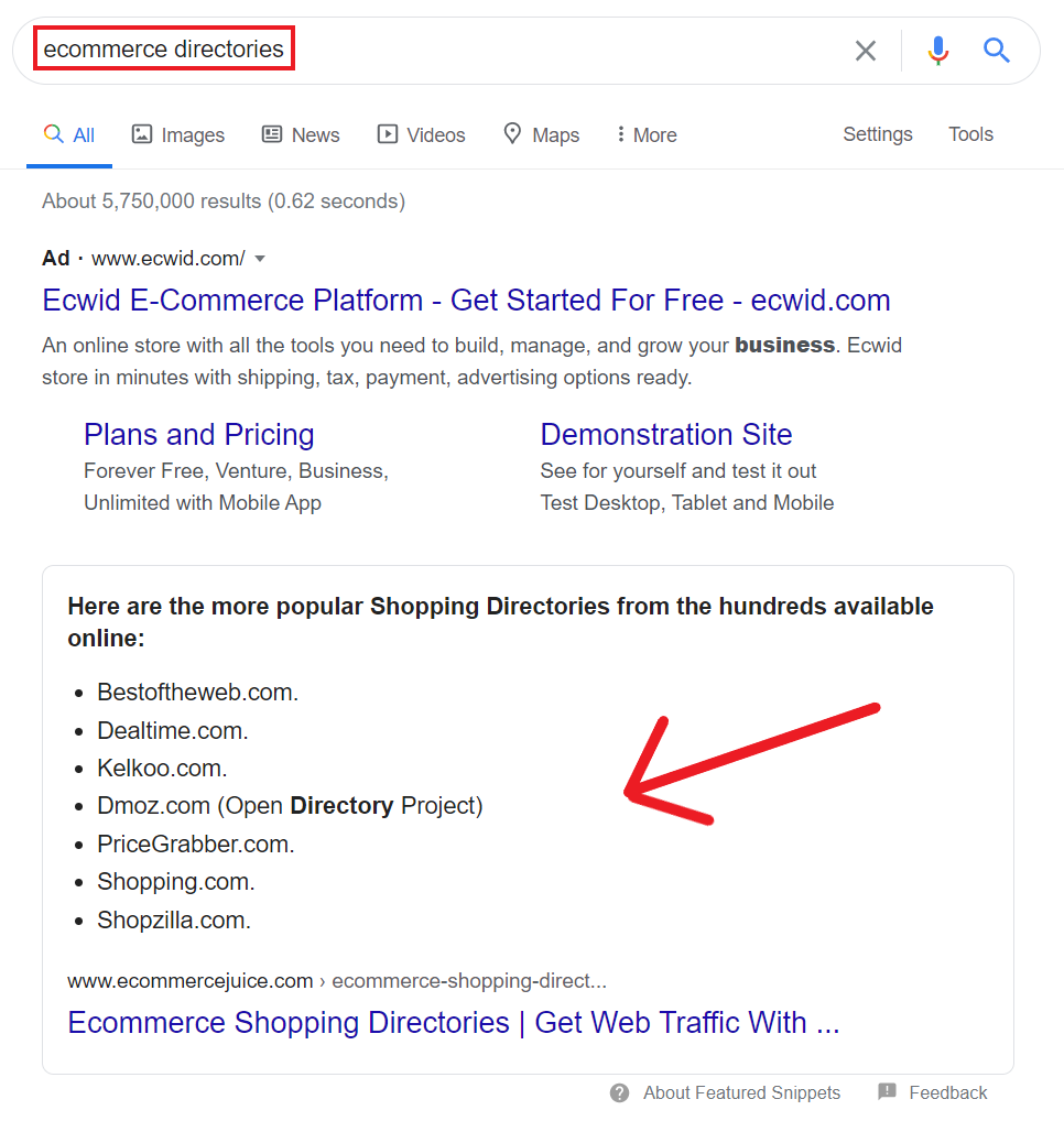 Ecommerce Directories Google Search