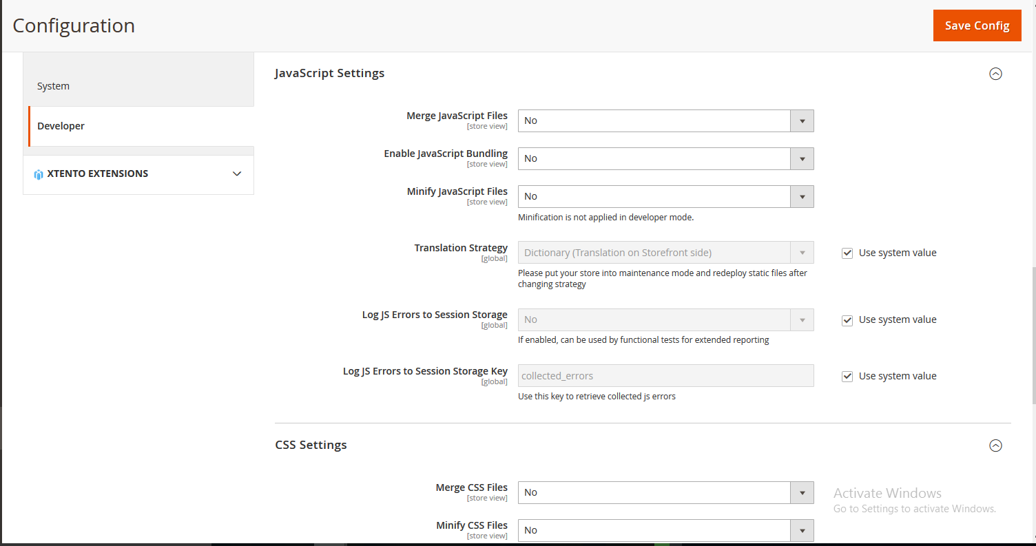 page speed configuration